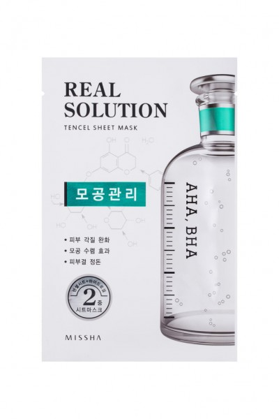 MISSHA Real Solution Tencel Sheet Mask (Pore Control) AHA, BHA